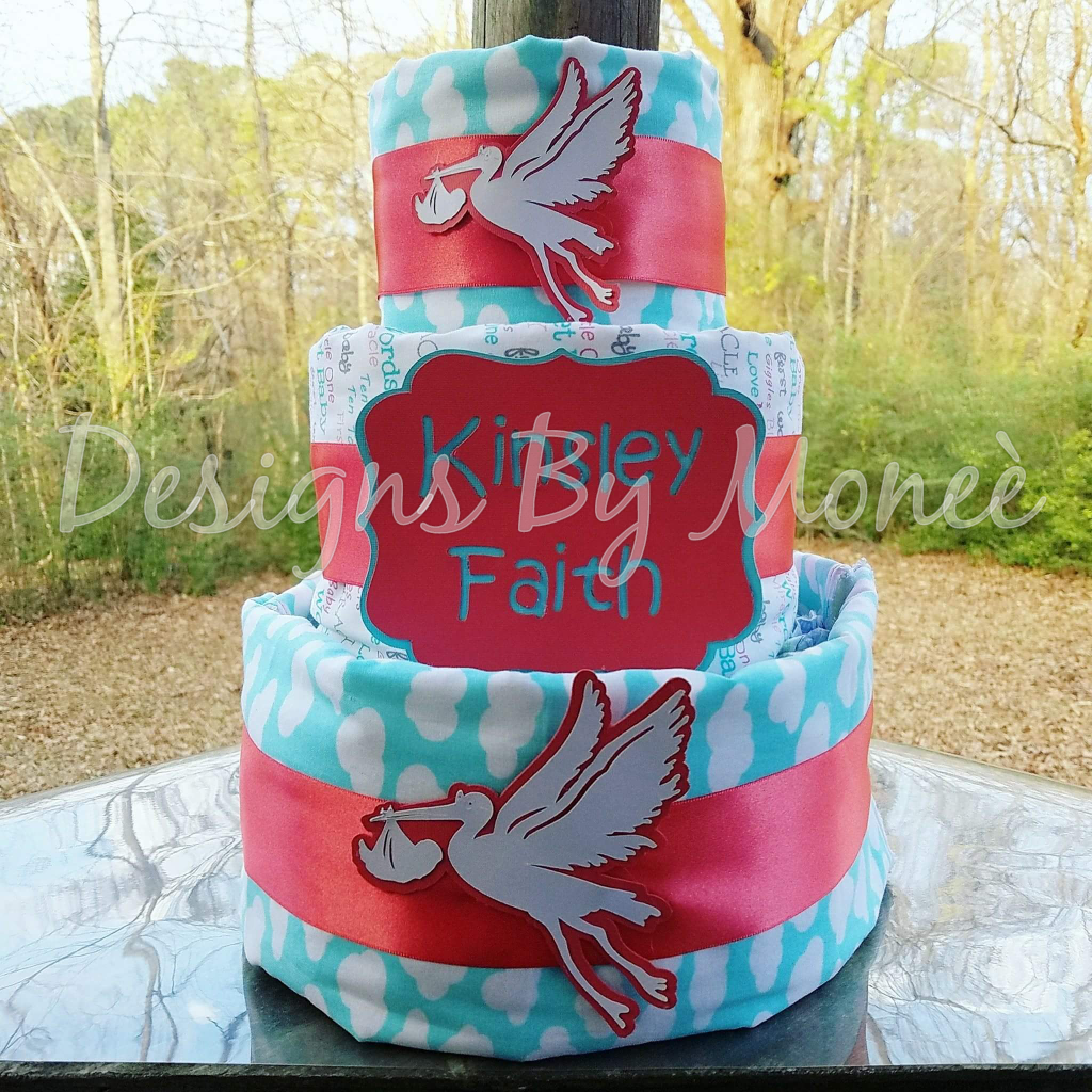 Stork 3 Tier Burp Cloth Diaper Cake