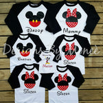 Mickey and Minnie Mouse Theme Raglan Baseball Tee
