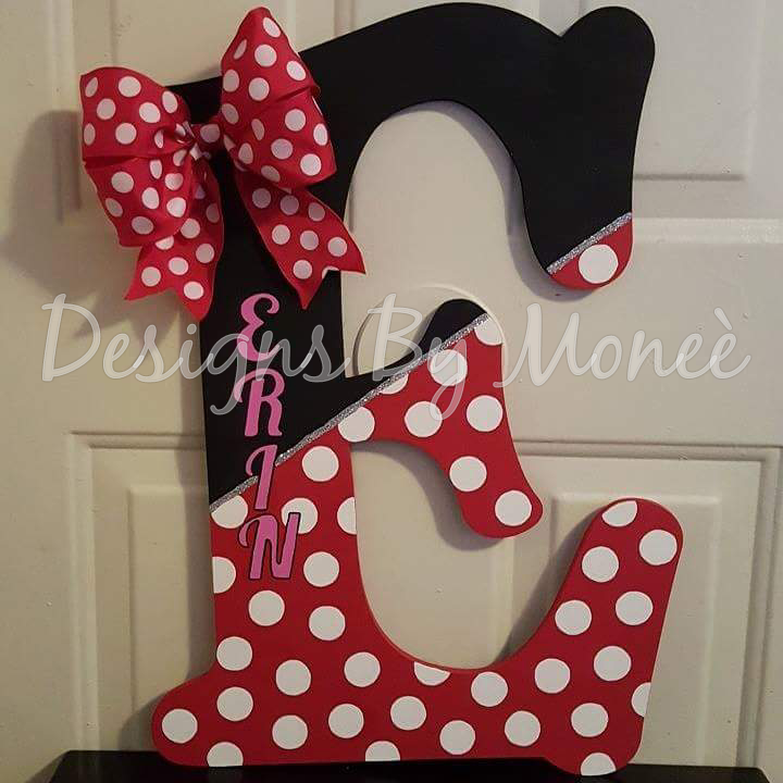 Minnie Mouse Theme Wooden Letter