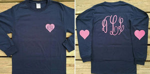 Monogrammed Heart Elbow T-shirt