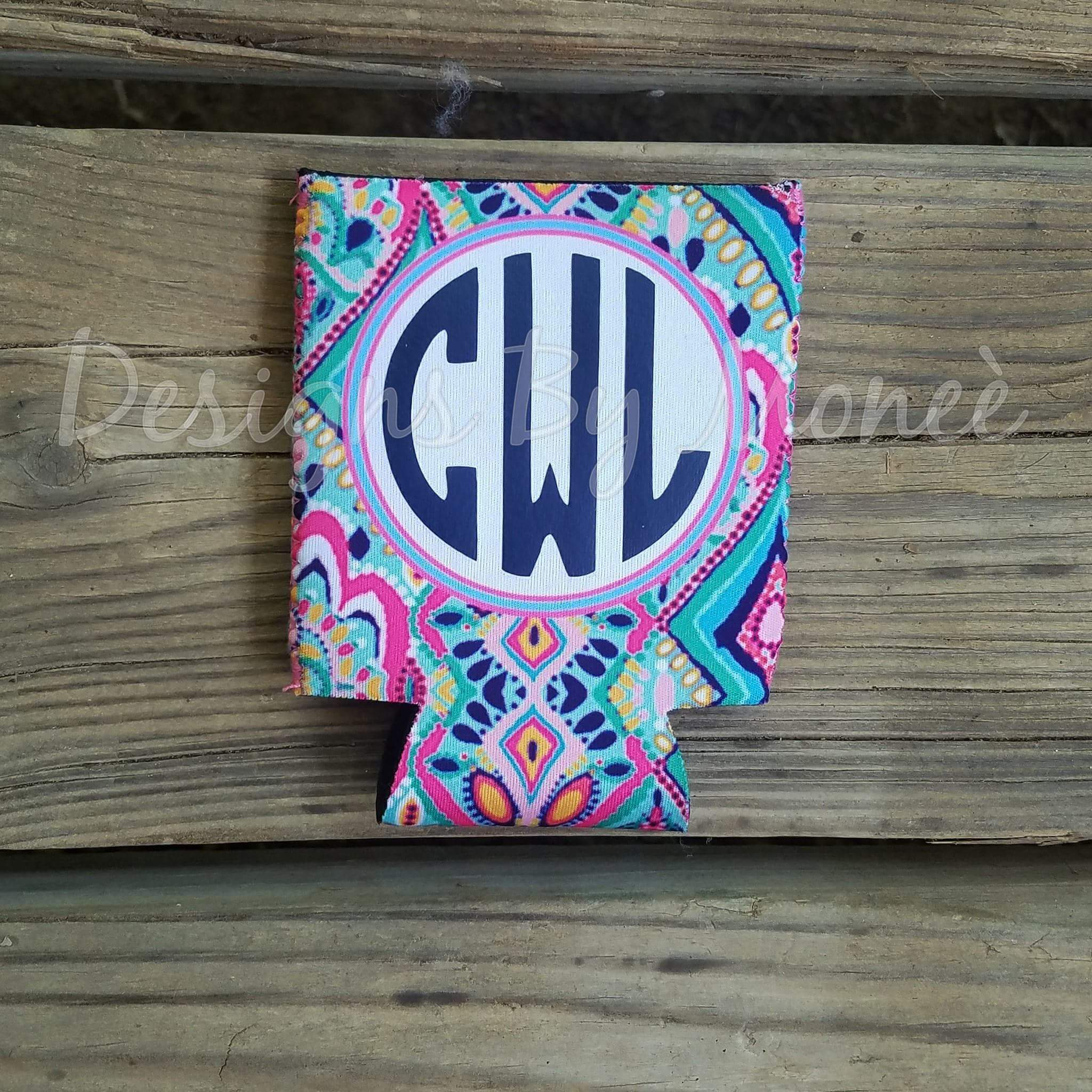 Lilly Pulitzer Inspired Monogrammed Can Koozie