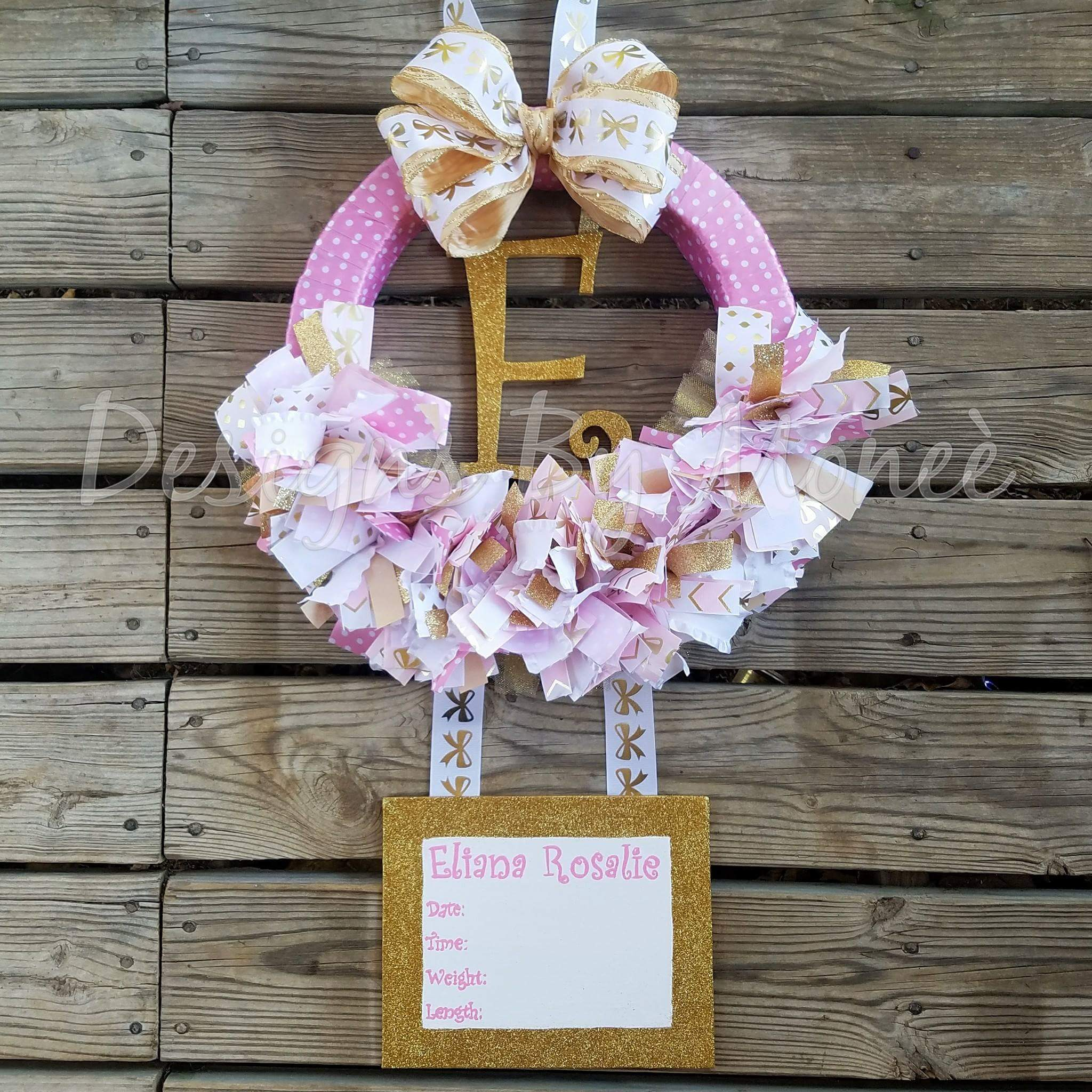 Gold and Pink Glitter Ribbon Wreath Hospital Door Hanger
