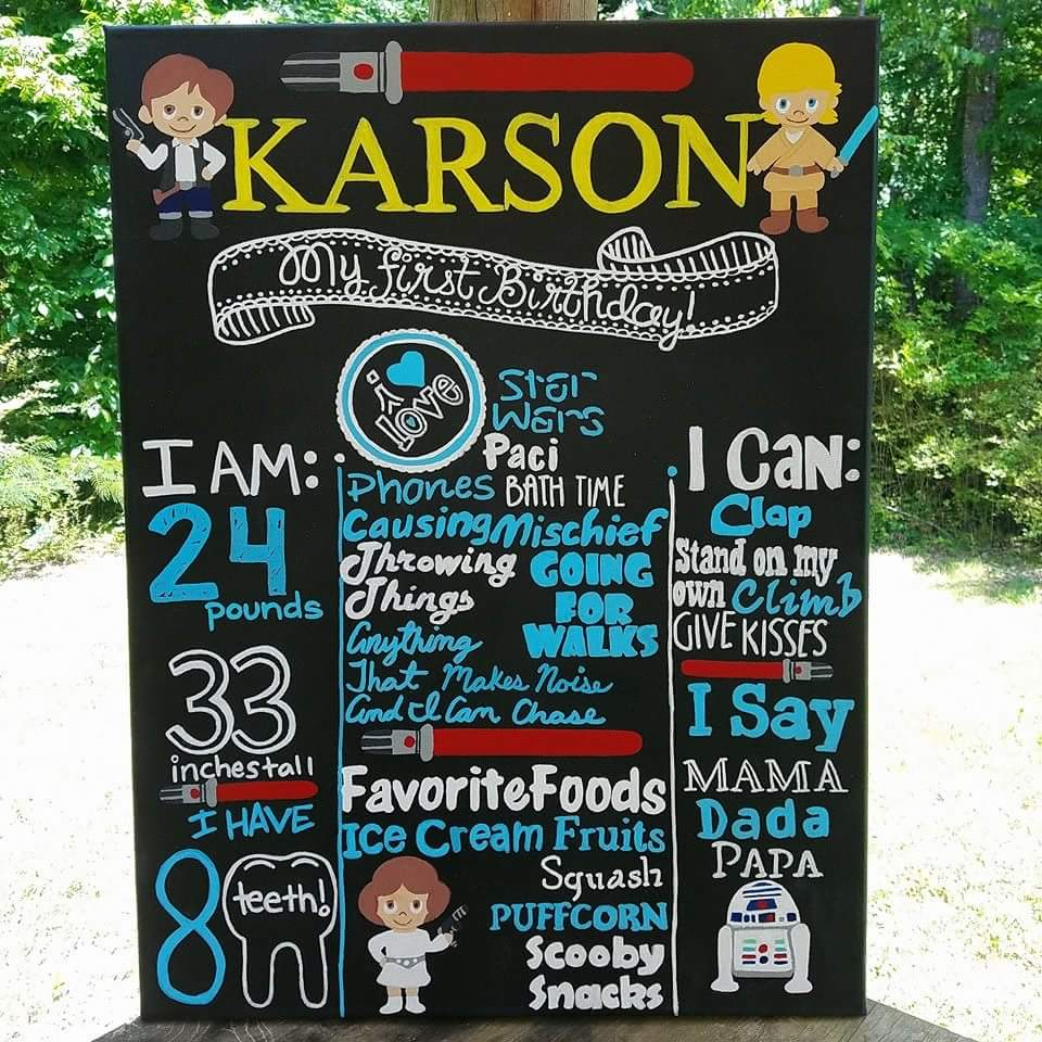 Star Wars Theme First Birthday Chalkboard