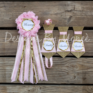 Pink and Gold Baby Shower Corsage and Tie