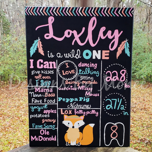Tribal Fox First Birthday Chalkboard Canvas