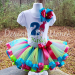 Trolls Ribbon Trimmed Tutu Birthday Outfit with matcing Hairbow