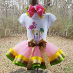 Flamingo Ribbon Trimmed Tutu Birthday Outfit with Matching Hairbow