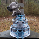 Baby Elephant 3 Tier Burp Cloth Diaper Cake