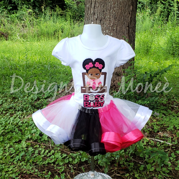 Boss Baby Ribbon Trimmed Tutu Birthday Outfit