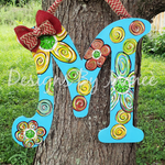 Floral and Dots Letter Door Hanger