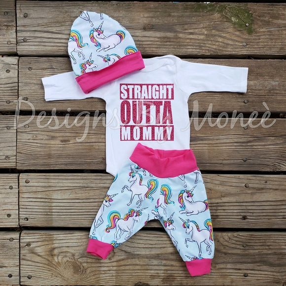 Straight Outta Mommy Unicorn Outfit