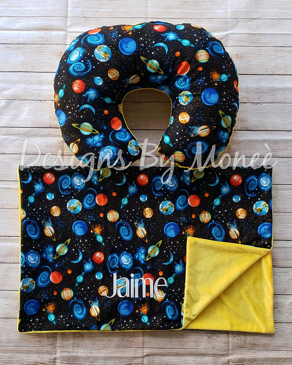 Galaxy Boppy Nursing Pillow and Blanket