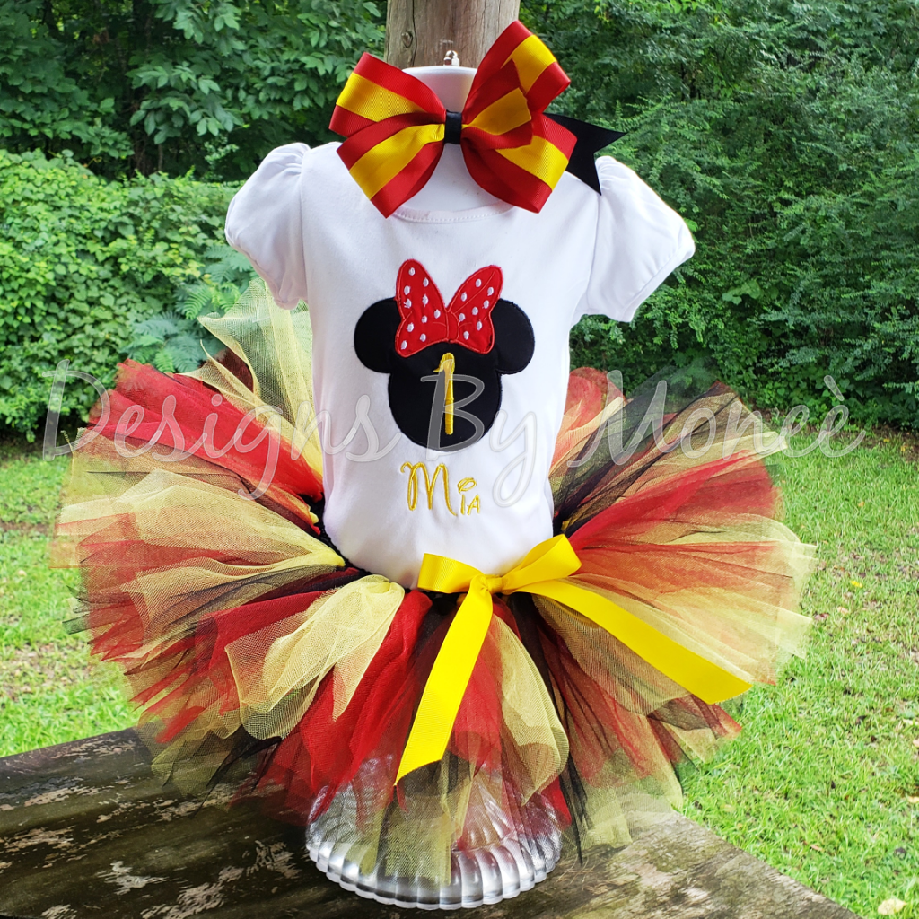 Minnie Mouse Birthday Outfit with Matching Hairbow
