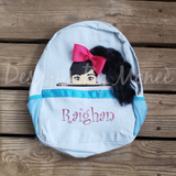 Peeking Face Personalized Seersucker Backpack