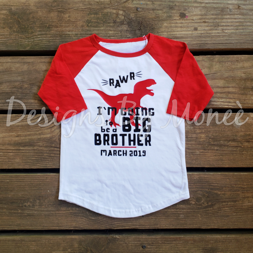 Dinosaur Theme I'm Going To Be A Big Brother Raglan