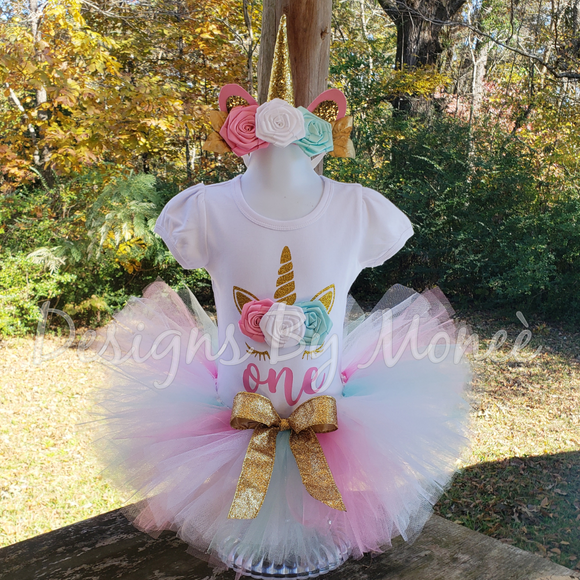 Unicorn Pastel Colors Theme Birthday Outfit with Matching Headband