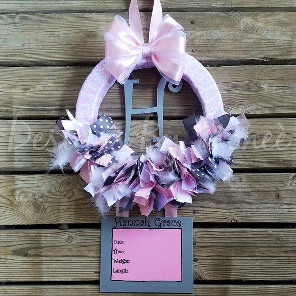 Pink Gray and White Ribbon Wreath Hospital Door Hanger