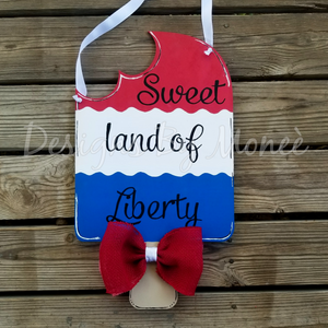 Two Sided Summer and Fourth of July Popsicle Door Hanger