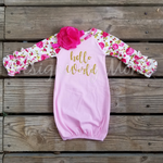 Hello World Floral Raglan Baby Gown