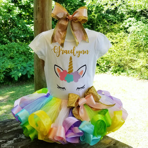 Unicorn Ribbon Trimmed Tutu Birthday Outfit