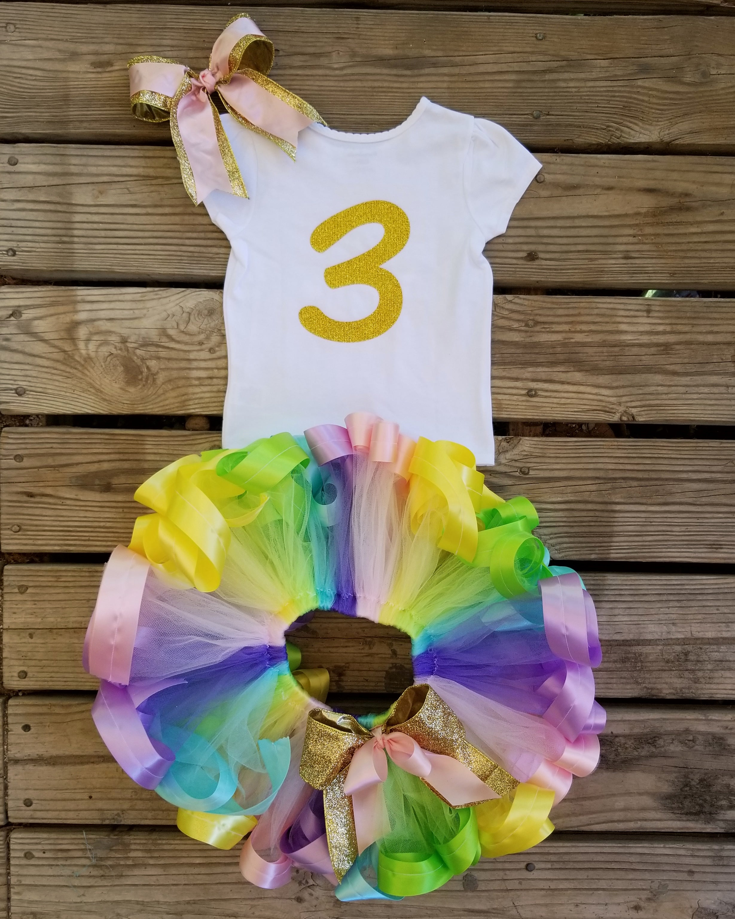 Unicorn Theme Ribbon Trimmed Tutu Birthday Outfit