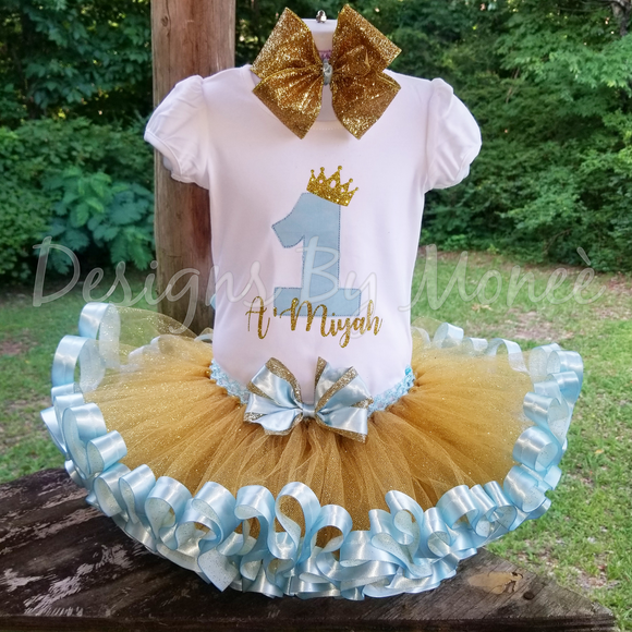 Blue and Gold  Ribbon Trimmed Tutu Princess Birthday Outfit