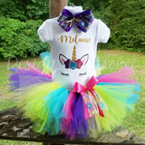 Unicorn Theme Rainbow Tutu Birthday Outfit