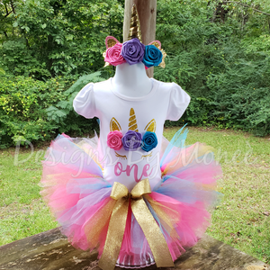 Unicorn Regular Colors Theme Birthday Outfit with Matching Headband