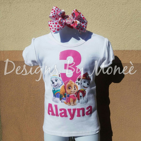 Paw Patrol Theme Birthday Shirt and Matching Hairbow