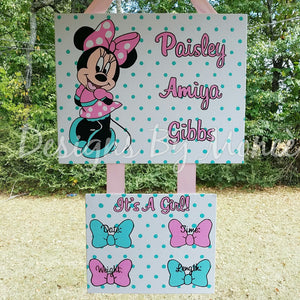 Minnie Mouse Birth Announcement Hospital Door Hanger