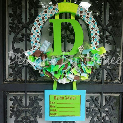 Blue Brown and Green Ribbon Wreath Hospital Door