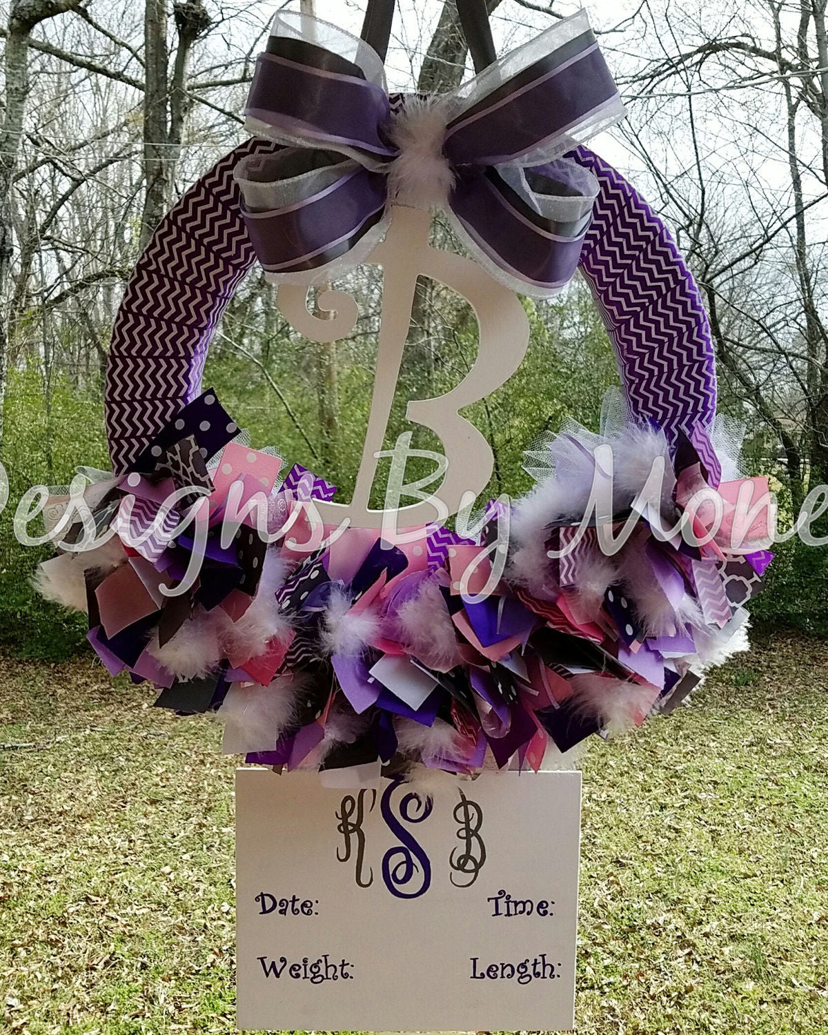 Pink Purple and Gray Girl Ribbon Wreath Hospital Door