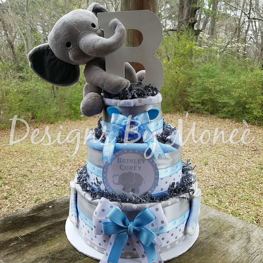 Personalized Stuffed Baby Elephant 3 Tier Burp Cloth Diaper Cake