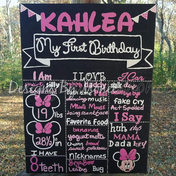 Minnie Mouse Theme Birthday Chalkboard Canvas