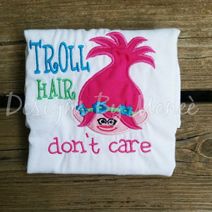 Embroidery Trolls Princess Poppy Trolls Hair Don't Care Shirt Girl