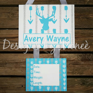 Deer Silhouette and Arrows Hospital Door Hanger