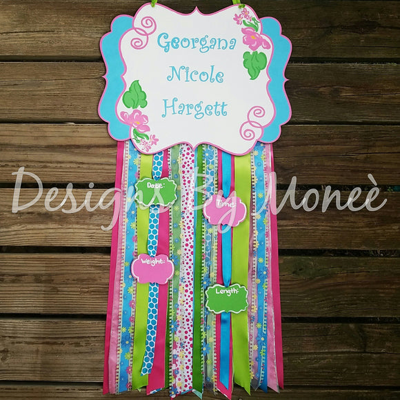 Floral Ribbon Plaque Hospital Door Hanger