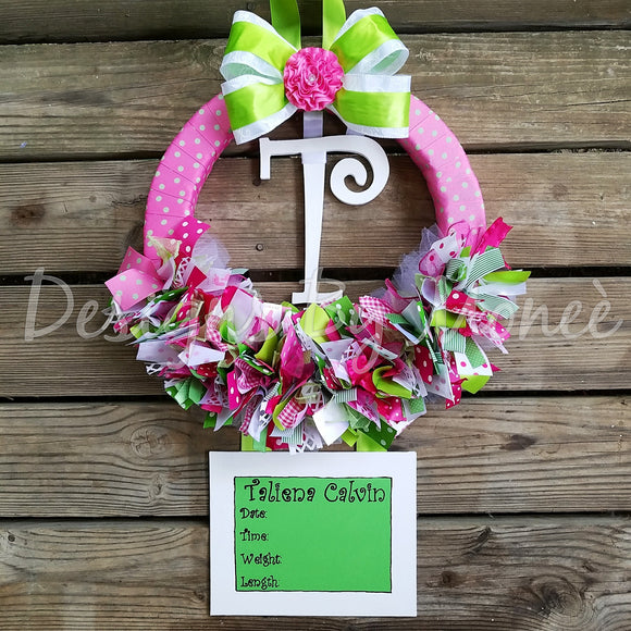 Green Pink and White Girl Ribbon Wreath Hospital Door