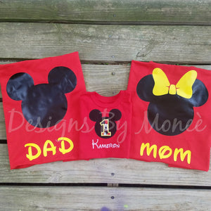 Mickey and Minnie Mouse Family Birthday Shirts