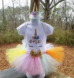 Unicorn Theme Birthday Outfit with matching Headband