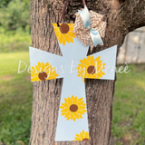 Cross Sunflower Door Hanger