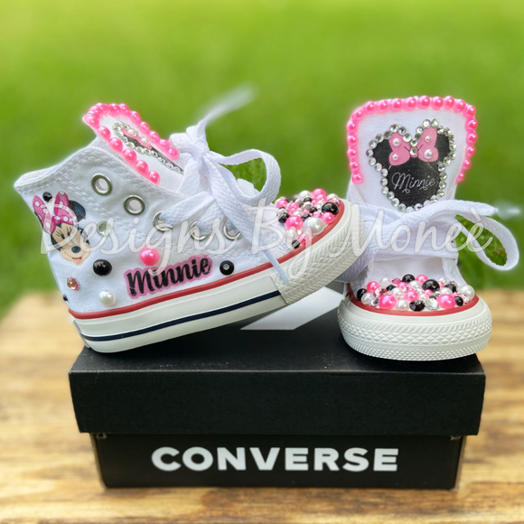 Minnie Mouse Inspired Bling And Pearl Converse
