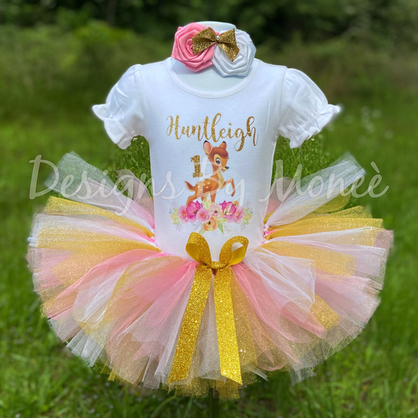 Bambi Floral Birthday Outfit and Banner