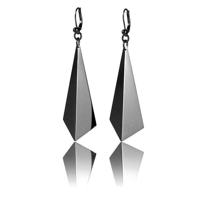 DM Facet Earrings Rhodium Plated Silver