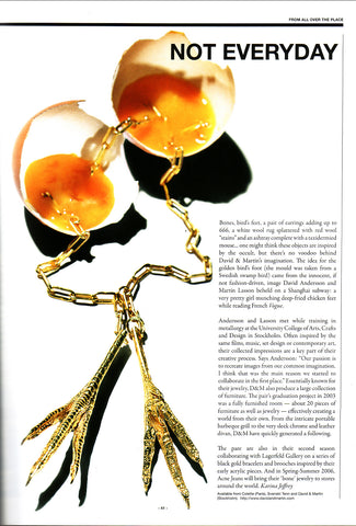 Chicken Feet necklace by David&Martin Jewellery featured in the media