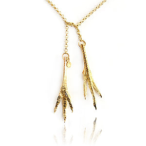 Necklace double - gold jewellery: chicken feet, gold plated | David&Martin jewellery