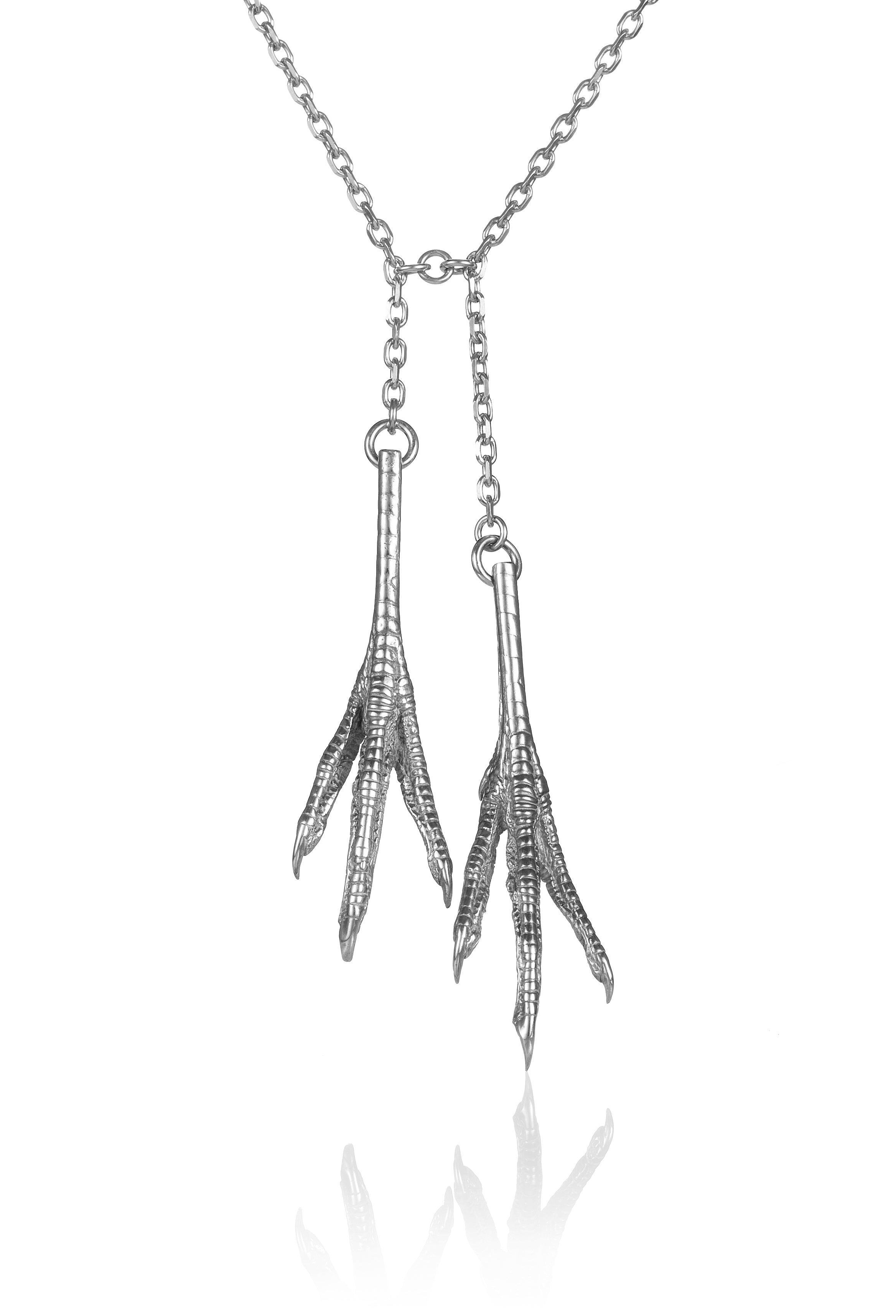 Chicken Feet Necklace Double silver