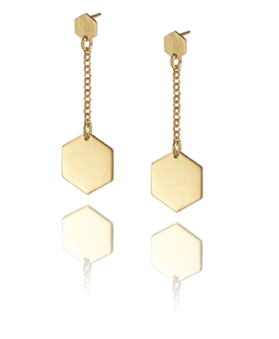 Cell Earrings Long (Gold)