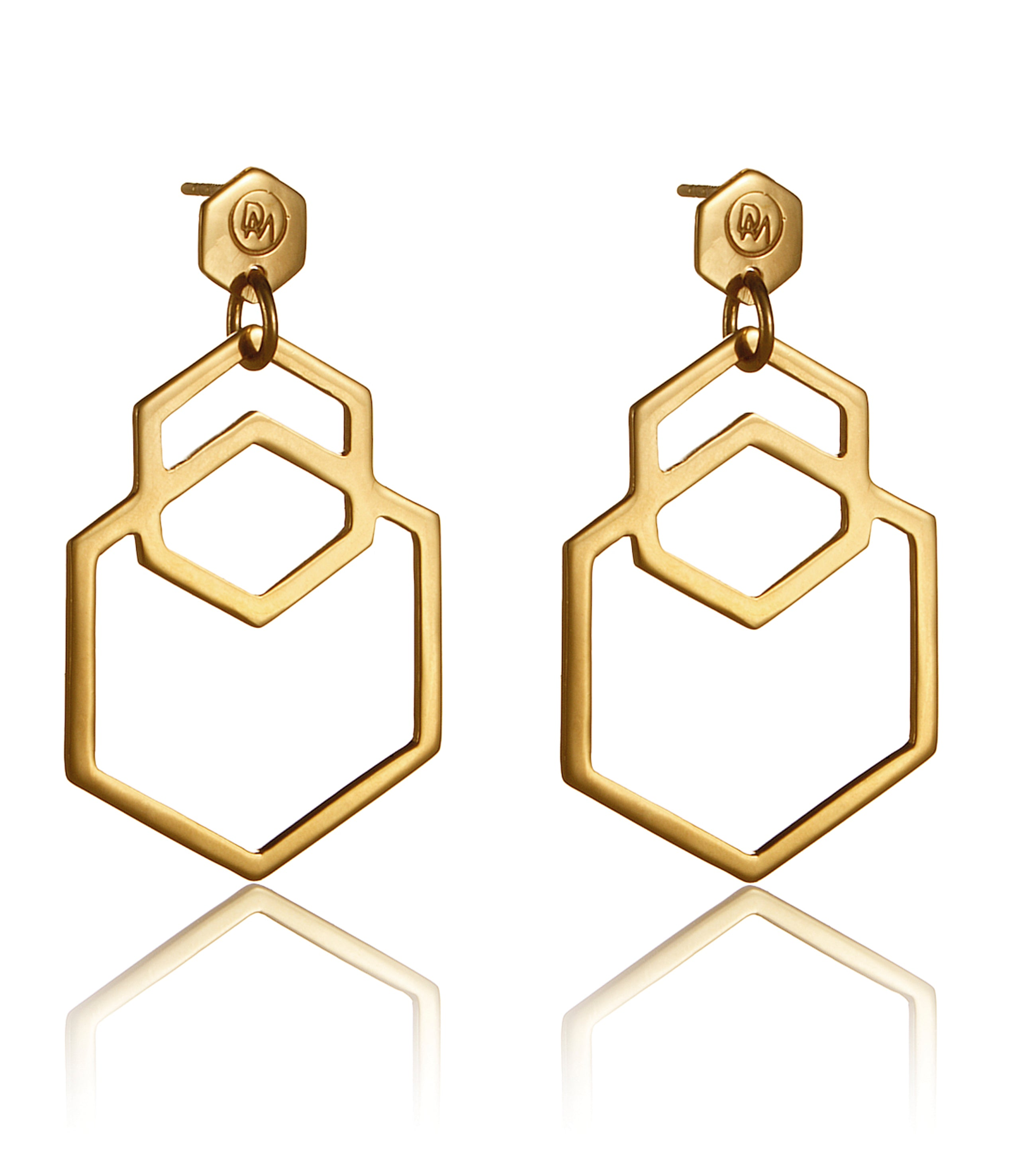 Cell Earrings Large Gold