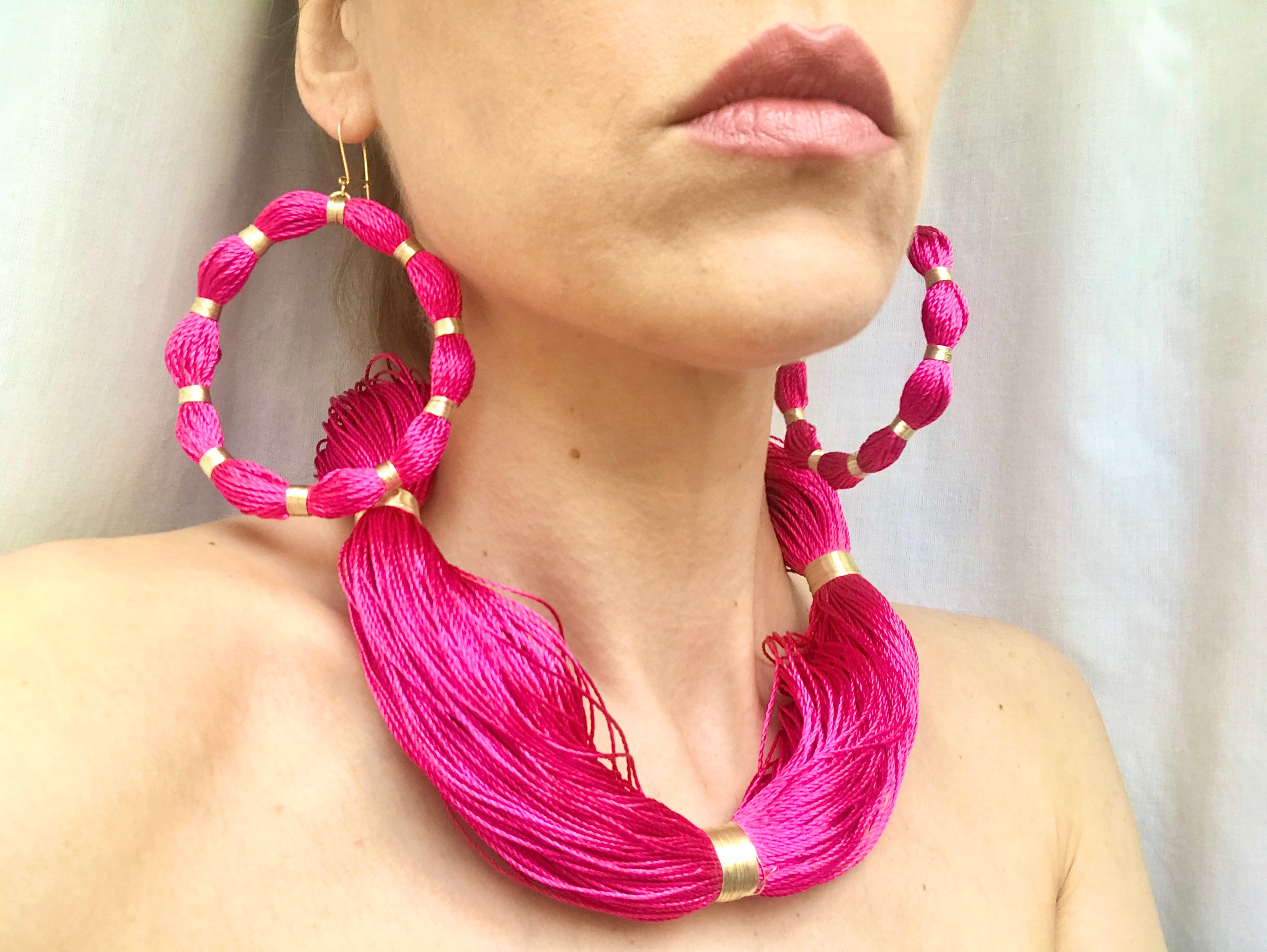 Magenta String Necklace, Venice Collection